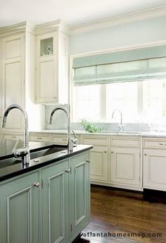 Aqua and cream kitchen = LOVE!!!  Perfect shade of aqua to match the living room pillows!!!