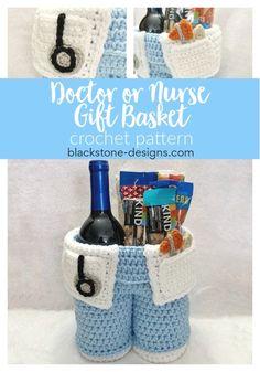 Gift Basket for Healthcare Pros Doctor or Nurse Gift Basket crochet pattern from Blackstone Designs Nurse Gift Baskets, Themed Gift Baskets, Basket Gift, Free Crochet, Quick Crochet Gifts, Funny Crochet, Beginner Crochet, Crochet Things, Crochet Stitch