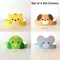 Set of 4 DIY Printable Pet Animal Paper Crowns: puppy dog, kitty cat, mouse and parrot. Perfect for kids parties, birthdays, baby showers, costumes. This listing is for instant download digital files. No physical item will be shipped. Buy it once, print as many as you like! SUPPLIES YOULL NEED TO MAKE YOUR CROWN: • Cardstock (8.5 x 11/Letter Size) • Craft Knife or Scissors • Tape or Glue WHAT YOULL GET: - Comes with two sets of printable files, one set in PDF format and one set in JPG...