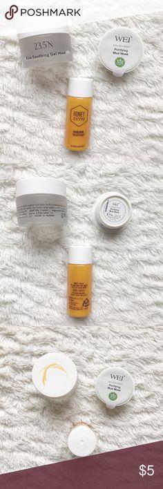 GEL MASK, MUD MASK, EMULSION SAMPLES 1- 23.5°N Rice Soothing Gel Mask 1- WEI Golden Root Purifying Mud Mask  1- Etude House Honey Cera Emulsion New, never opened! Makeup