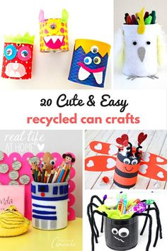 20 Cute and Easy Recycled Can Crafts for Kids Don't just recycle your aluminum cans. Make some fun and easy recycled can crafts instead! Here are some great ideas for easy, kid-friendly aluminum can crafts. Aluminum Can Crafts, Tin Can Crafts, Aluminum Cans, Easy Crafts For Kids, Projects For Kids, Diy For Kids, Craft Projects, Simple Crafts, Fall Crafts