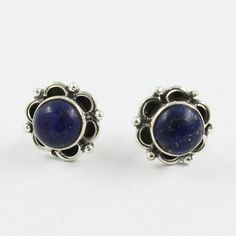 Lapis Stone Flower Design 925 Sterling Silver Earrings Studs by JaipurSilverIndia on Etsy