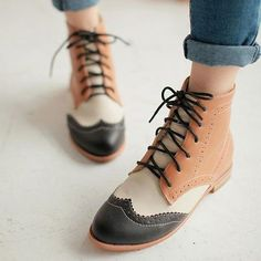 nice Womens Fashion High Top Oxford Wing Cap Toe Boots Ladies Flat Faux Leather Shoes