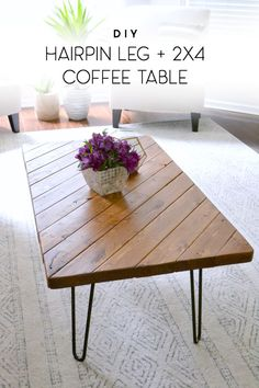 Create this beautiful hairpin leg coffee table with 2x4 scrap wood! This practically-free project can be cut in as little as 15 minutes and all you need to buy are the legs. #diy #coffeetable #scrapwood