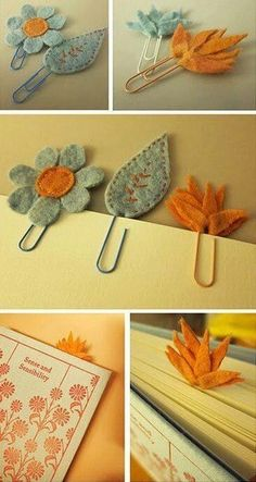 felt flowers and leaves bookmarks Felt Diy, Felt Crafts, Diy And Crafts, Arts And Crafts, Felt Bookmark, Bookmark Craft, Paperclip Bookmarks, Book Markers, Felt Fabric