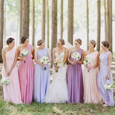 Multi - Matched Lighter Colour Bridesmaid Dresses