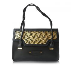 Black tote with  woven metal and leather detailing by Poupee Couture