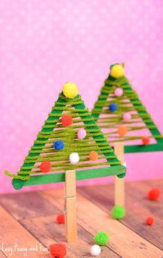 Top 40 Easy And Fun Christmas Crafts For Kids to Make - Awesome Alice Homemade Christmas Decorations, Christmas Crafts For Kids To Make, Christmas Tree Crafts, Handmade Christmas, Holiday Crafts, Ideas For Christmas Trees, Kids Winter Crafts, Xmas Tree Decorations, Xmas Trees