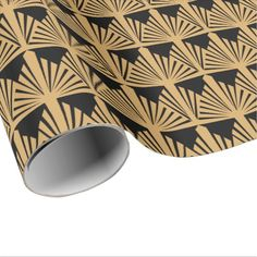 Gold and Black Art Deco Pattern Wrapping Paper