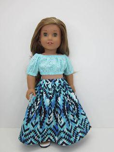 7ba9608609 18 inch doll clothes -Aqua eyelet peasant crop top and pretty Aqua print  maxi skirt