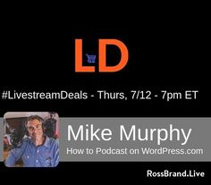 """We are excited to welcome Mike Murphy to #LivestreamDeals w/ @rossbrand1 on THURS, 7pm ET (RossBrand.Live). @mikeunplugged is a talented video creator of educational and promotional videos, and the host of the Mike Murphy Unplugged podcast and the Ask Mike Murphy Facebook Live show Mondays at 9pm ET at FB.com/MikeMurphyco. On #LivestreamDeals, Mike will be talking about his new book, """"How to Podcast on WordPress.com."""" #PM18 #podcastmovement #podcasting #podcast"""