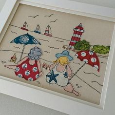 Bathing Beauties by Lillyblossom. Handmade Embroidered Framed Textile Art seaside scene lighthouse made to order. Freehand Machine Embroidery, Free Motion Embroidery, Free Machine Embroidery, Free Motion Quilting, Sewing Appliques, Applique Patterns, Applique Designs, Embroidery Designs, Fabric Cards