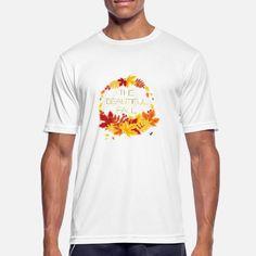 Schriftzug The beautiful fall umgeben Herbstblätte Männer Sport T-Shirt | Spreadshirt