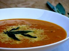 Tangy Sriracha Pumpkin-Parmesan Soup with Fried Sage Leaves from NoblePig.com
