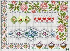 Flower border patterns / charts for cross stitch, crochet, knitting, knotting, beading, weaving, pixel art, micro macrame, and other crafting projects.
