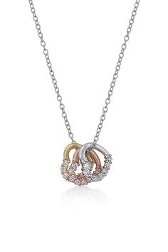 Trinity Necklace - 14K Gold, Rose Gold and White Gold Filled Hearts accented with 3 Carats of Micro Pave CZ.