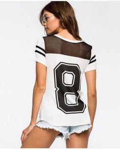887013c022a Splice mesh t shirt for women white short sleeve t shirts 8 design