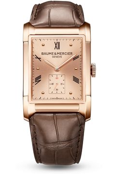Discover the Hampton 10033 18K red gold Men's watch with manual movement, curved sapphire crystal and brown alligator leather strap. Designed by Baume et Mercier, Swiss Watch Maker.