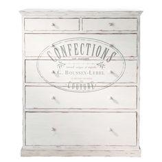 Witte bedrukte houten ladekast B 110 cm Confection | Maisons du Monde