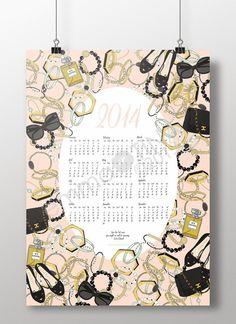 2014 Fashion Wall Calendar Poster by emmakisstina on Etsy, Cool Calendars, Calendar Organization, Photography Themes, Texture Design, Poster On, Digital Illustration, Typography, Graphic Design, Calendar Ideas
