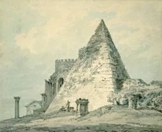 Joseph Mallord William Turner 'The Pyramid of Caius Cestius, Rome', - Wash and graphite on paper - Dimensions Support: 179 x 217 mm - © The Ashmolean Museum, Oxford Joseph Mallord William Turner, Turner Painting, Romulus And Remus, English Romantic, Oxford England, Watercolor Landscape Paintings, Medieval Life, Historical Art, Traditional Paintings