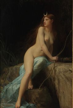 Diana, Chasseresse by Jules Joseph Lefebvre  Diana or Artemis is the Goddess of the Hunt.  Sister to Apollo, she is also Goddess of the Moon (see the crescent on her brow).  She is a virgin and roams the woods with her train of young maids.