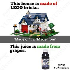 In the first example the house is made of LEGO bricks which means that the LEGO bricks are still LEGO bricks. They didnt stop being LEGO bricks in the process of becoming a LEGO house.  But in the second example the juice is made from grapes which means that the grapes are no longer grapes.  The grapes have been transformed into a liquid form: juice.   #grammar #madeof #madefrom #english #learnenglish #esl #efl #lego