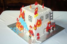 Building On Fire! 10 inch square bottom, 8 inch square on top. Fed BC with fondant fire (leaf cutouts), fondant fireman, ladders, fire. Fireman Sam Birthday Cake, Fireman Party, Fire Engine Cake, Building Cake, Fire Fighter Cake, Fire Cake, Bubble Cake, Leaf Cutout, Ballerina Cakes