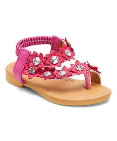Love this Fuchsia Rhinestone-Embellished Floral Sandal on #zulily! #zulilyfinds