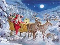 Santa Delivering Presents Advent Calendar ~ England Merry Christmas, French Christmas, Father Christmas, Vintage Christmas Cards, Christmas Love, Christmas Pictures, Christmas Holidays, Magical Christmas, Christmas Scenes