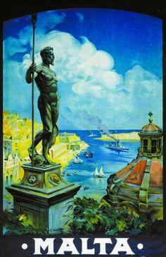 Vintage Travel Poster, The Republic of Malta, Mediterranean Sea Tourism Poster, Poster S, Vintage Travel Posters, Vintage Postcards, Malta History, Railway Posters, Cool Posters, Art Posters, Malta Island