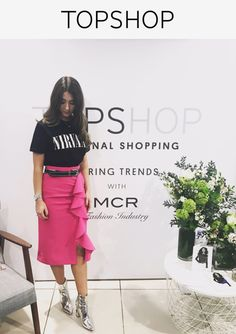 Invest in a statement piece this season with this pink midi skirt in crepe fabric with ruffle detail running down the front for a pretty finish.