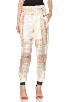 Chloe Tassel Print Chiffon Pant in White,Geometric Print