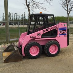 The Pink Bobcat Shared from @jonerscc on Instagram #bobcat painted with #cloverdalepaint ArmourShield urethane for #breastcancer #pink