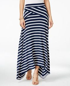 INC International Concepts Petite Asymmetrical Stripe Maxi Skirt, Only at Macy's - Skirts - Women - Macy's