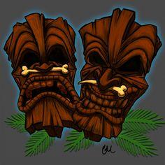 Tiki Masks by corporatefilth Totem Tattoo, Tiki Tattoo, Tiki Man, Tiki Tiki, Tiki Faces, Rockabilly Art, Tiki Totem, Tiki Lounge, Hawaiian Tiki