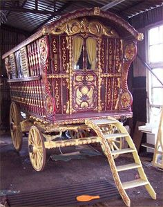 "gypsy caravan interior pictures | This ""waggon"" (British spelling) is 100 years old."