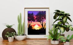 Hey, I found this really awesome Etsy listing at… Pink Sunset, Way To Make Money, Art Designs, Original Artwork, Christmas Gifts, Advertising, Art Prints, The Originals, Awesome