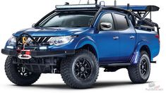 Mitsubishi Desert Warrior Concept, A one-off built in conjunction with Top Gear magazine for the 2017 Commercial Vehicle Show, held at the NEC, Birmingham from April 25 - Codenamed. Mitsubishi Strada, Mitsubishi L200, Mitsubishi Motors, Pick Up Mitsubishi, Mitsubishi Pickup, Outlander Phev, Off Road Racing, 4x4 Off Road, Mitsubishi Outlander