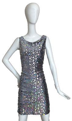 Vintage Designer Silver Mirror Sparkle Party Dress by DIYstylist, $19.99