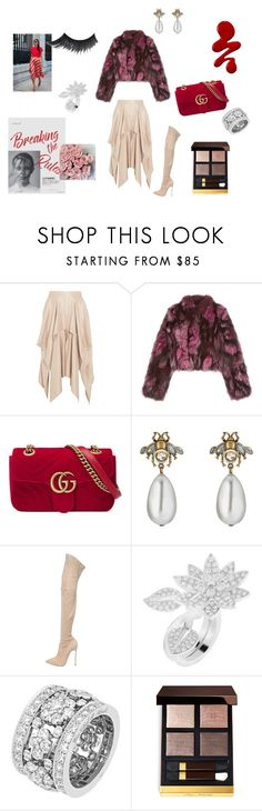 """""""Red addicted"""" by maria-chamourlidou ❤ liked on Polyvore featuring Barbara Casasola, Pologeorgis, Gucci, Casadei, Van Cleef & Arpels and Tom Ford"""