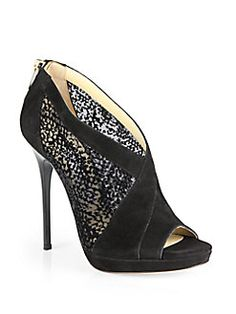 Jimmy Choo - Vivid Suede & Mesh Ankle Boots
