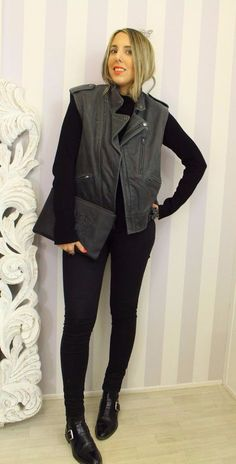 Topshop Boutique Real Leather Charcoal Distressed Biker Gilet Waistcoat XS/S 10