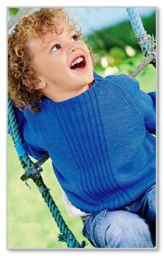 Вязание спицами. Однотонный пуловер-реглан для мальчика. Размер: 86/92 (98/104) 110/116