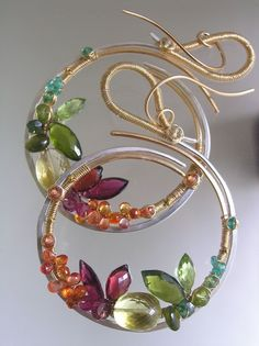Every Now and Again BOOM...Bright Gemstone Adorned Mixed Metal GF Sterling Signature Original Sculptural Hoop Earrings...large