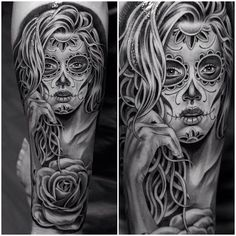Sugar Skull Tattoo - Black and White Tattoo - Grey Tattoo Best Tattoos Ever - Tattoo by Jun Cha - 04