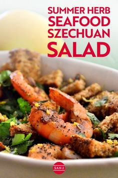 Seafood makes for great summer meals! Enjoy this Summer Herb Seafood Szechuan Salad on any summer day. Perfect for entertaining and cookouts, this gluten-free seafood dish will have everyone asking for seconds! #Recipe #Szechuan #SummerFoods #ShrimpRecipes Large Bowl, Seafood Dishes, Shrimp Recipes, Coriander, Cherry Tomatoes, Summer Recipes, Crisp, Gluten Free, Sin Gluten