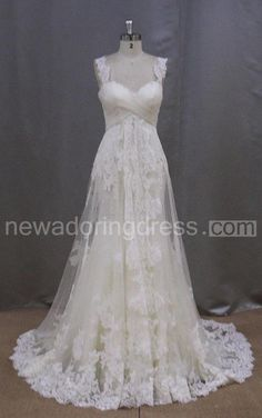 Long Sleeveless A-Line Lace Wedding Dress With Empire Waist