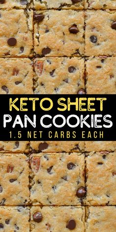 These Keto Sheet Pan Cookies have just 1.5 net carbs each and require no chilling! These low carb, gluten free, almond flour, chocolate chip cookies are the perfect keto treat!  #keto #cookies #lowcarb Easy No Bake Desserts, Köstliche Desserts, Low Carb Desserts, Healthy Dessert Recipes, Low Carb Recipes, Delicious Desserts, Breakfast Recipes, Vegan Recipes, Dinner Recipes