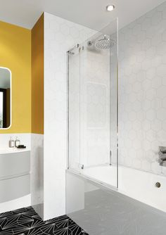 Creating a luxurious, on-trend bathroom sanctuary has never been easier thanks to the all-encompassing product range from Crosswater. Enclosures perfectly suiting both walk in showers and baths. Bath Screens, Bathtub, Yellow Bathrooms, Bathroom Space, Luxury, Bathroom Trends, Bath, Paneling, Enclosures